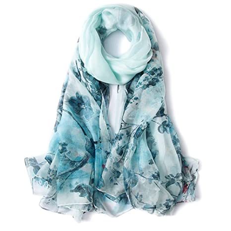 Suave Bufanda Larga De Seda Mulberry Silk Sunscreen Print Toalla De Playa Bufandas Azules Mantener Caliente