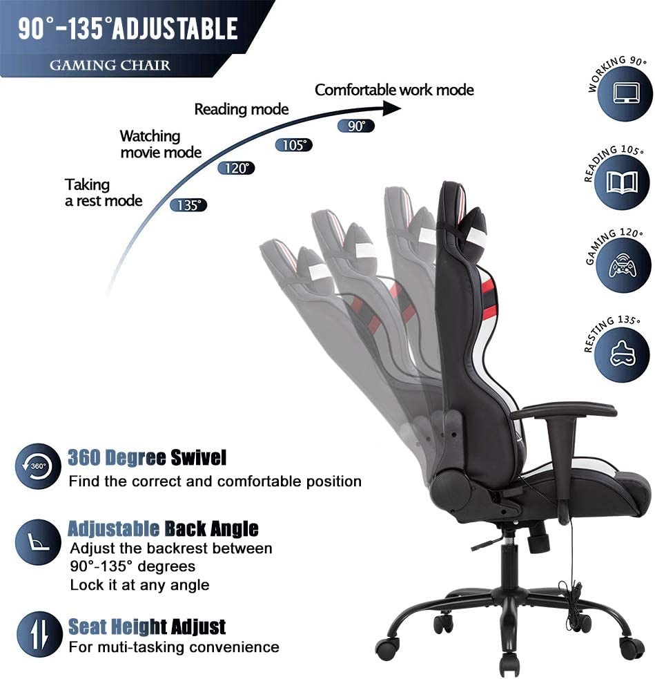 Gaming Chair Massage Office Chair Racing Computer Chair with Lumbar Support Headrest Armrest Task Rolling Swivel Ergonomic PU Leather Adjustable Desk Chair for Adults Gamer Black