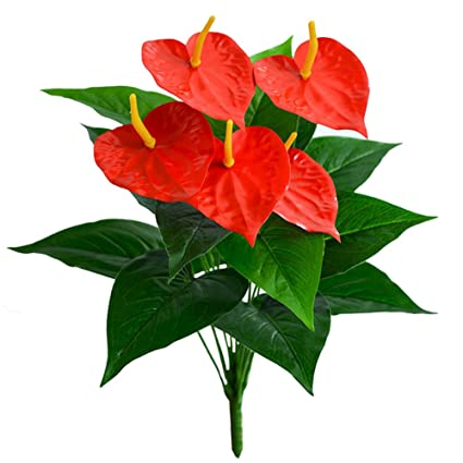 Htmeing 5 Heads 16u0026quot; Artificial Anthurium Fake Plants Red Flowers For  Office Home Decoration (