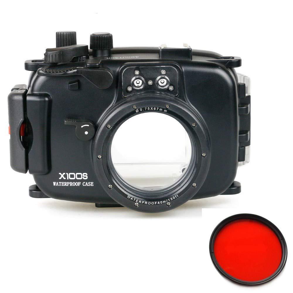 Meikon 40 m / 130 ft防水水中カメラハウジングケースバッグFujifilm X100S用 w/レッドフィルター【並行輸入品】   B07M7Z1F1S