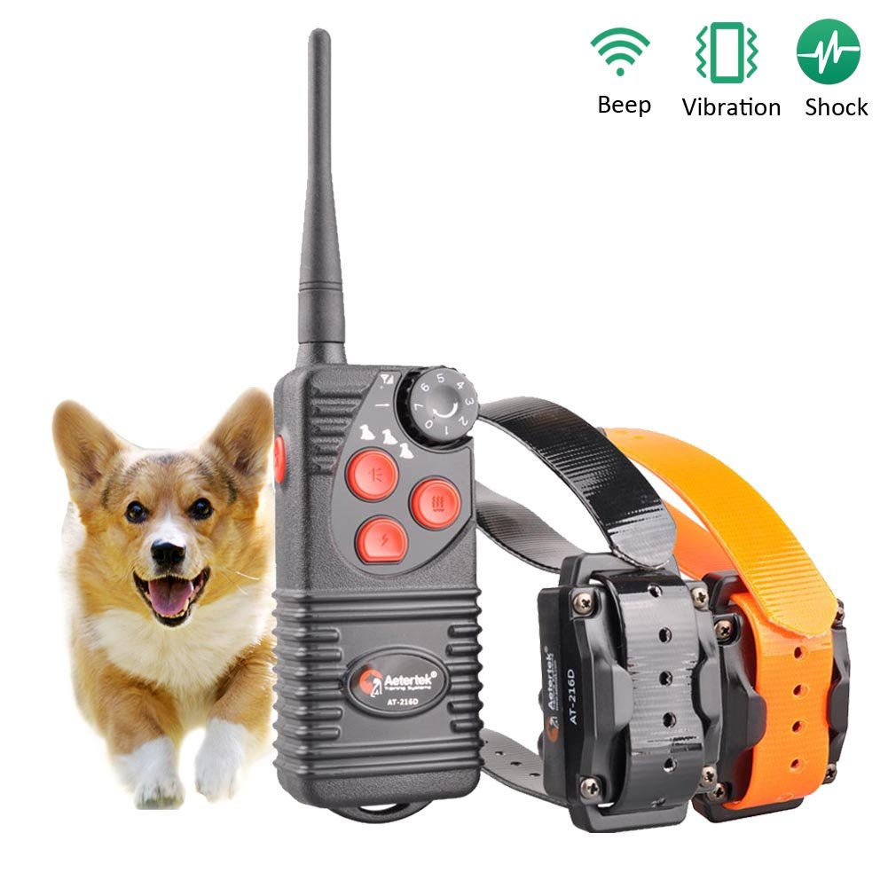 Aetertek AT-216S Submersible 550m Remote Range Pet Dog Electric Shock Trainer Control 2 Dog Training Anti Bark Shock Collar by Aetertek