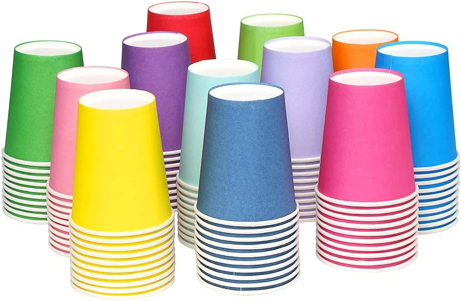 12 Colors VEYLIN 120 Pieces 9 Ounce Disposable Paper Cups Party Paper Drinking Cups for DIY Party Supplies