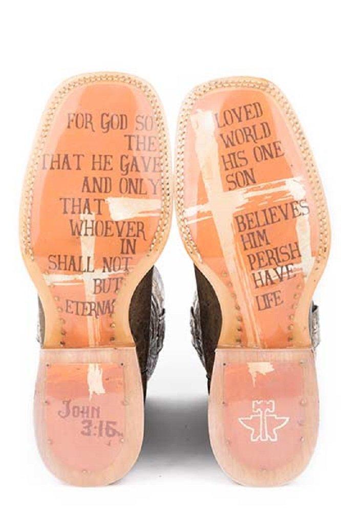 1ade631efbf Amazon.com   Tin Haul Women s Size 11 Bible Verse MY SAVIOR JOHN 3 16  Crosses Crown of Thorns Square Toe Transparent Sole Cowboy Boots   Sports    Outdoors