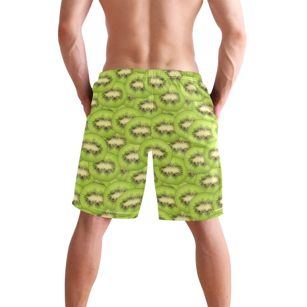 DongDongQiang Men Summer Green Kiwi Fruit Quick Dry Volleyball Beach Shorts Board Shorts
