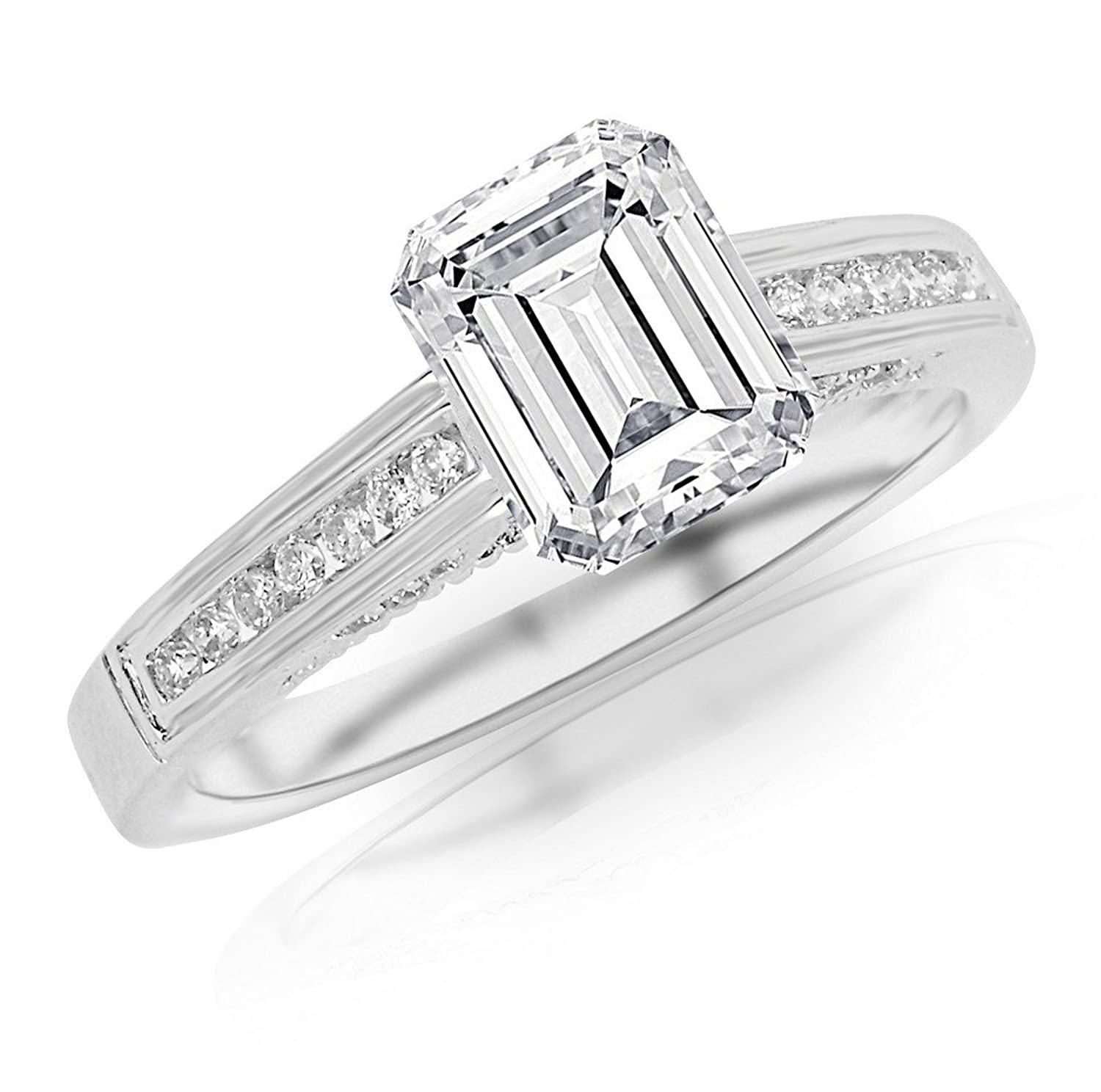 0.9 Cttw 14K White Gold Emerald Cut Channel Set Round Diamond Engagement Ring with a 0.7 Carat F-G Color VS1-VS2 Clarity Center