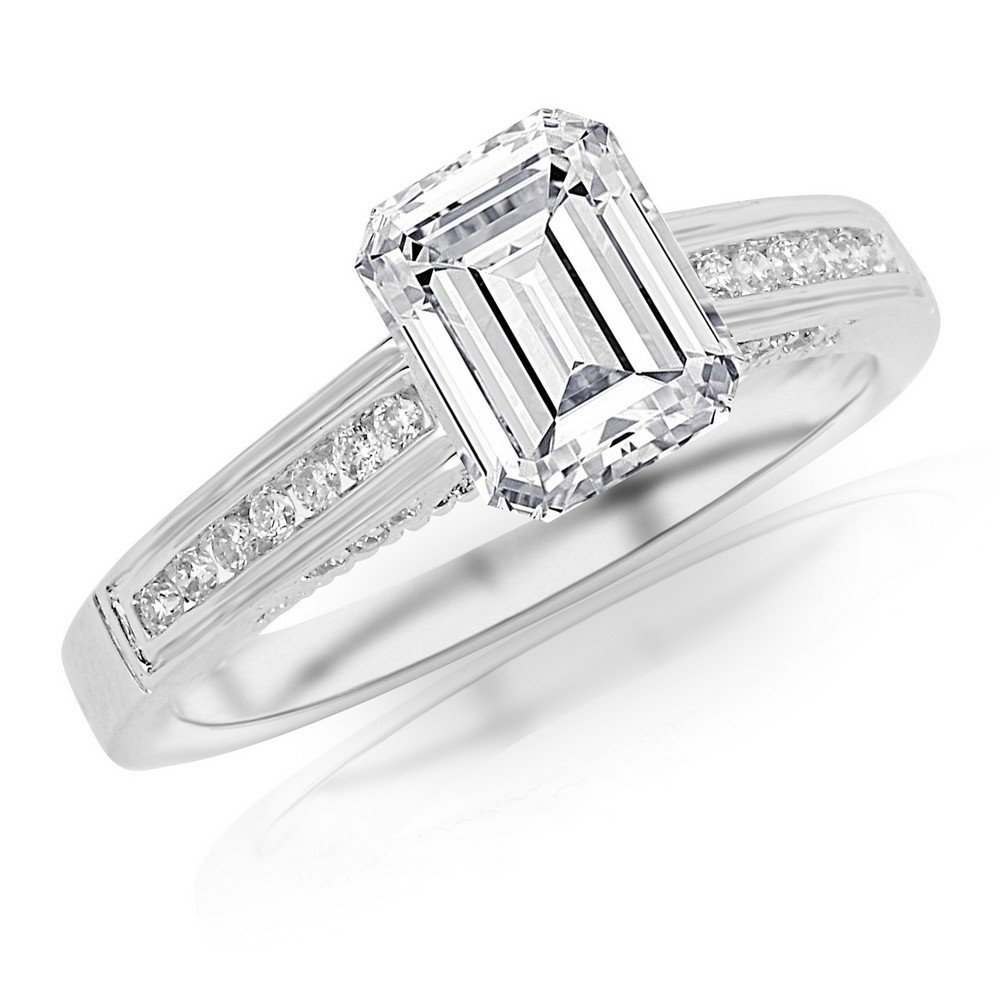 1 Carat 14K White Gold Channel Set Round Emerald Cut GIA Certified Diamond Engagement Ring (0.75 Ct E Color VS2 Clarity Center Stone)