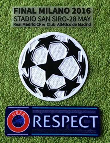 Atletico Madrid FC Uefa Champions League Final 2016 Patch Set Soccer Jersey Badges Football Shirt Patches (Match Details / Uefa Starball + Respect)