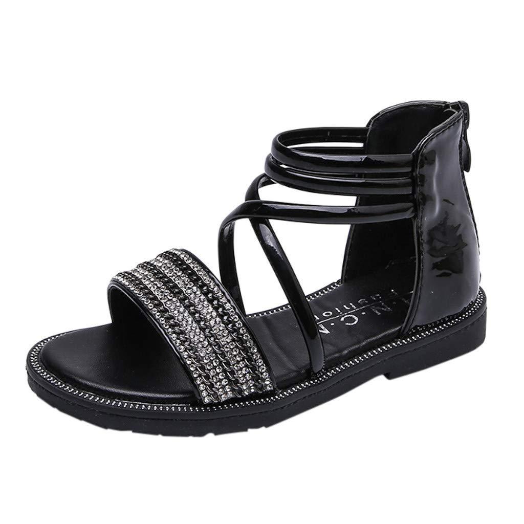 Mysky Fashion Toddler Infant Kids Baby Summer Popular Pure Color Crystal Criss Cross Belt Zipper Sandals Black