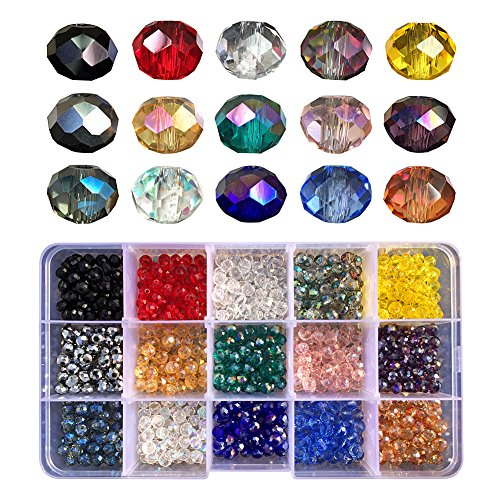 Chengmu 6mm Briolette Glass Beads for Jewelry Making Faceted Rondelle Shape 750pcs Multicolor AB Colour Crystal Spacer Beads for Bracelets Necklaces with Elastic Cord Storage ()