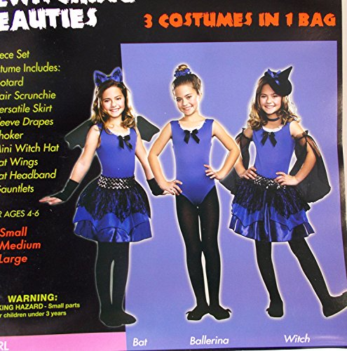 Bewitching Beauties Bat Ballerina Witch Child Costume L 10-12 NIP ()