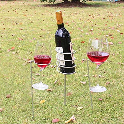 VT BigHome 3pcs Set Wine Glass & Bottle Holder Stake Support Metal lawn Picnic Camping Wine goblet Glass Holder Frame Garden BBQ Supply from VT BigHome