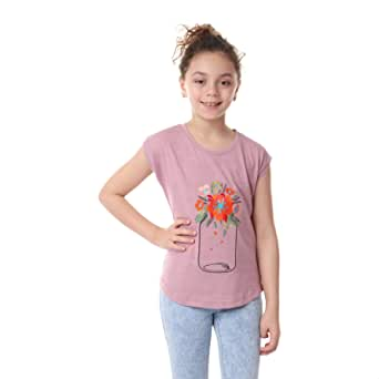 Andora Floral Embroidered Cap-Sleeves Cotton T-Shirt for Girls