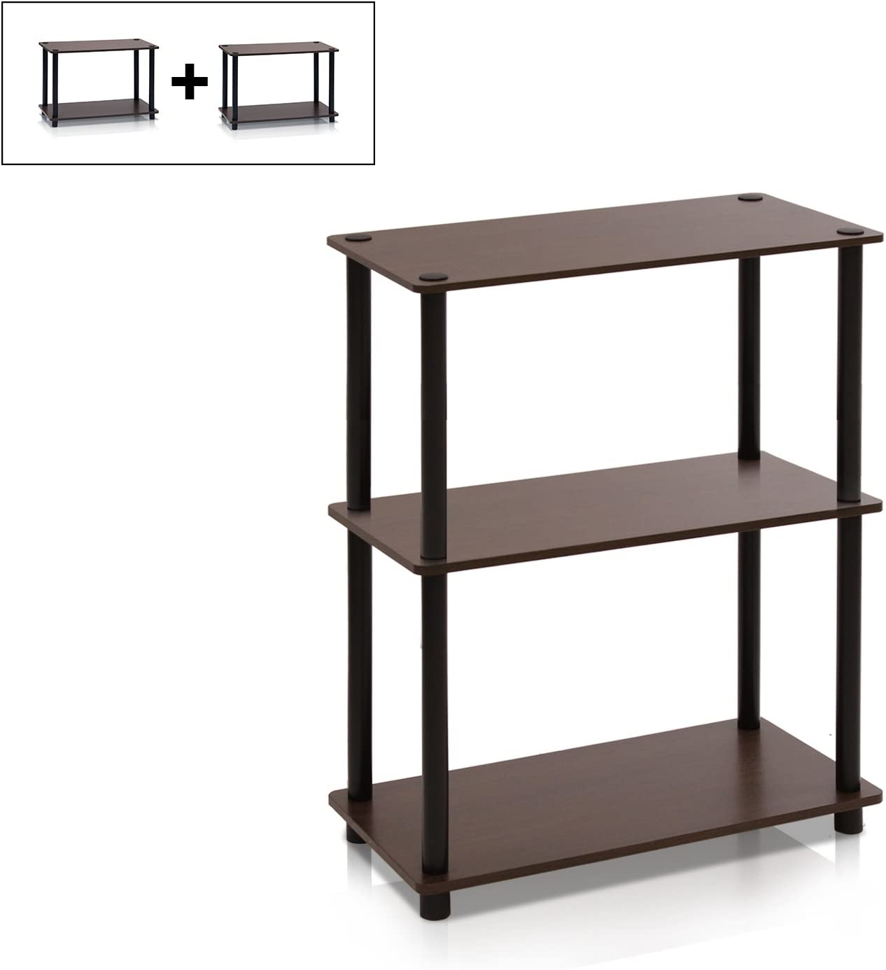one size Black and Grey Wood Furinno End Tables