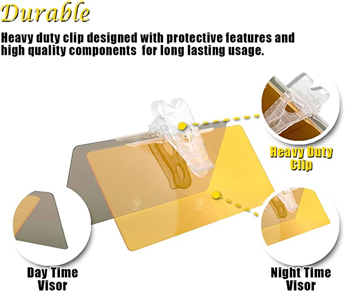 VaygWay Car Day and Night Anti-Glare Sun Visor Extender Vehicle Windshield SunShade UV Ray Eye Protector Custom Autos 4000VS
