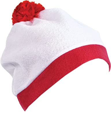 8a44a6d12e9 Bristol Novelty Unisex Adults Christmas Fancy Dress Party White Bobble Hat  With Red Pom Pom UK  Amazon.co.uk  Clothing
