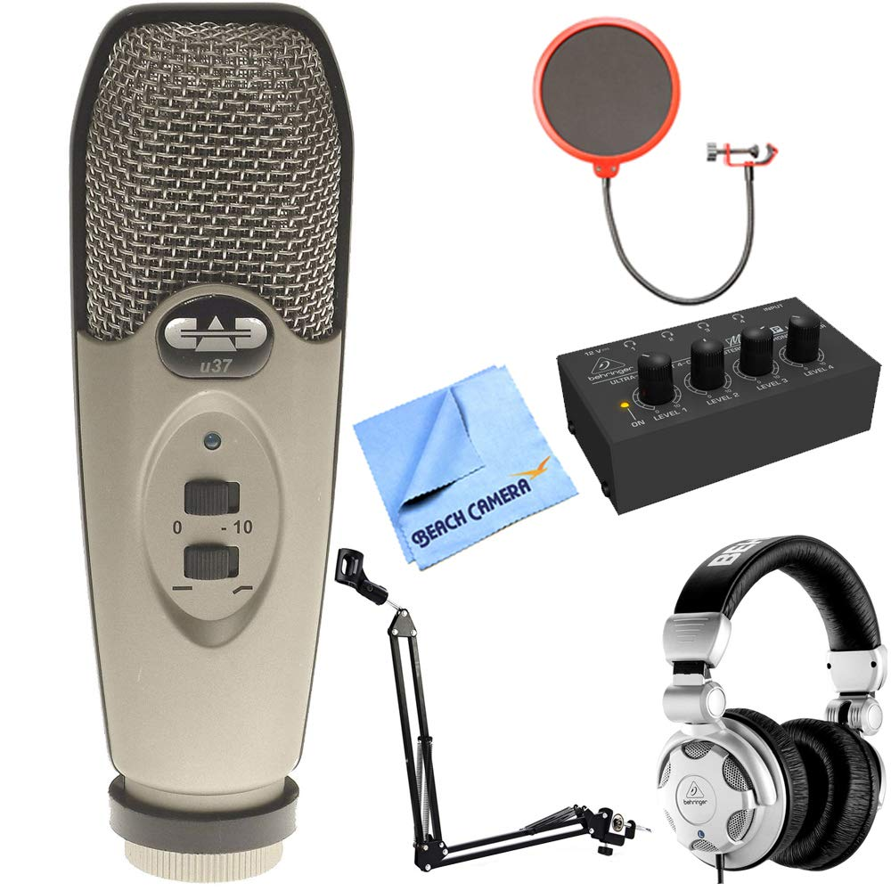 CAD Audio U37 USB Large Diaphragm Cardioid Condenser Microphone w/Tripod, 10' Cable Silver + Wind Screen + Mic Suspension + Behringer HPX2000 DJ Headphones + Behringer HA400 Stereo Headphone Amp by CAD Audio