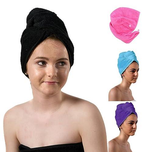 TowelsRus Spa Days turban de lujo, negro, toalla absorbente y algodón ligero por Aztex