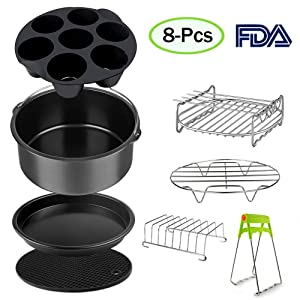 Air Fryer Accessories Set for 3.7, 5.3, 5.5, 5.8 QT,8 pieces for Gowise Phillips and Cozyna Air Fryer (7.5 inch, 8 pcs)