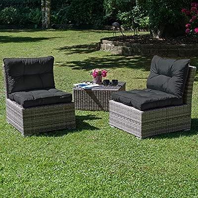 Beautissu Cojines para Muebles de jardín XLuna Lounge sillas de Mimbre de Exterior Asiento Grueso Acolchado Aprox. 70x70x10 cm Gris Grafito