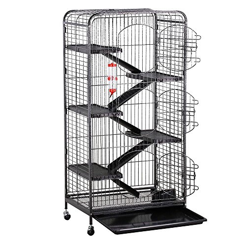 go2buy Metal 3 Doors Rats Rabbit Ferret Cage Playpen, 25.2 x 16.9 x 51.6 Inches (Black)