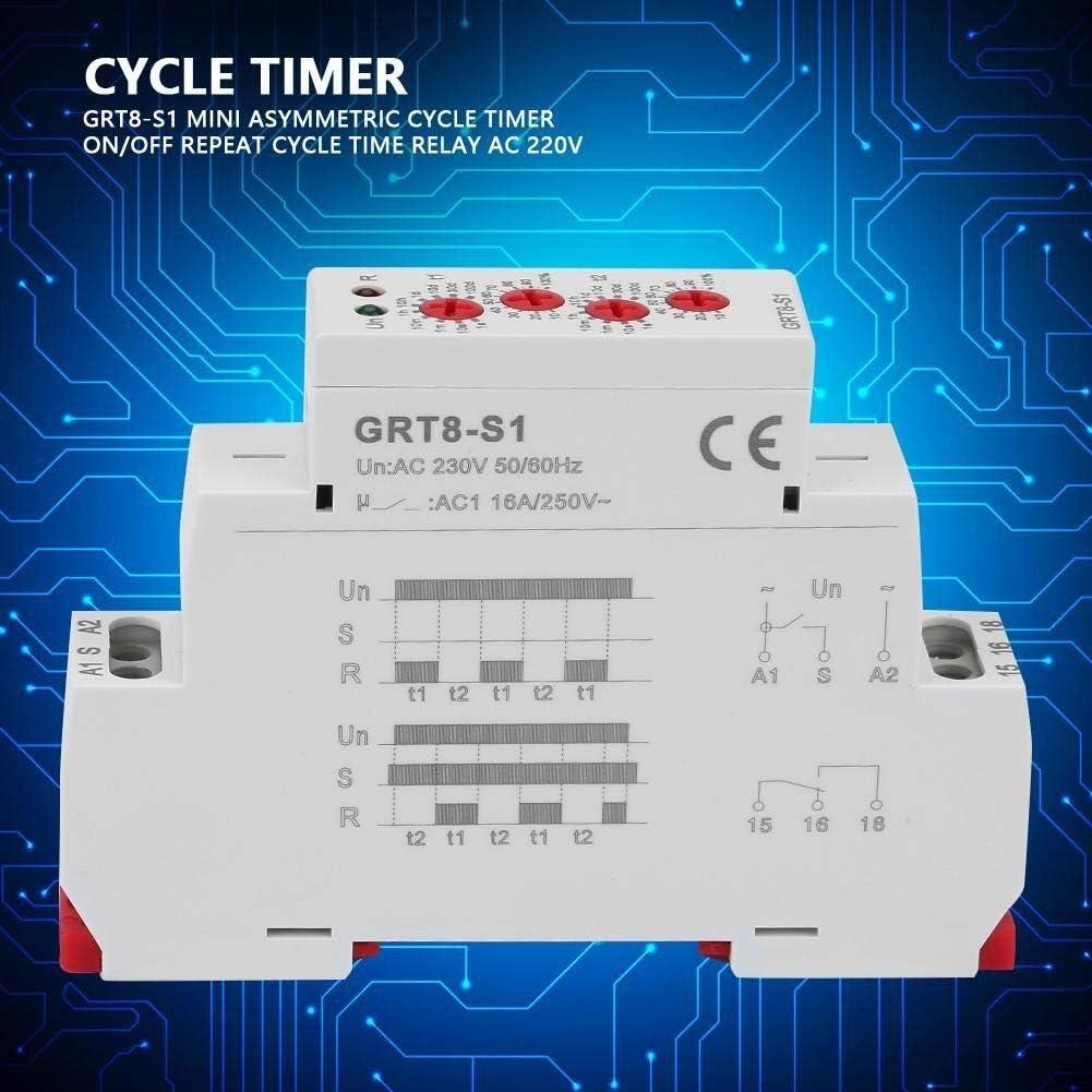 Cycle Timer GRT8-S1 Mini Asym/étrique cycle minuterie ON//OFF R/ép/étition du temps de cycle Relais AC 230V