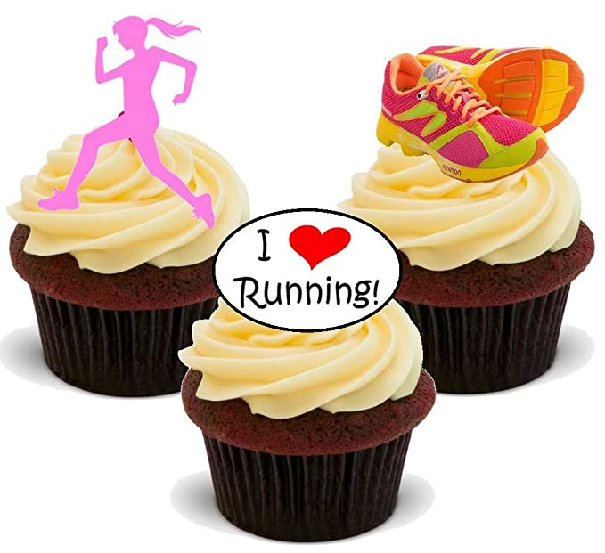 Running Runner Party Pack Cake Decorations 36 Edible Stand-up Cupcake Toppers