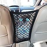 Mictuning Car Seat Storage Mesh/Organizer - Universal Mesh Cargo Net Hook Pouch Holder for Bag Luggage Pets Children Kids Disturb Stopper