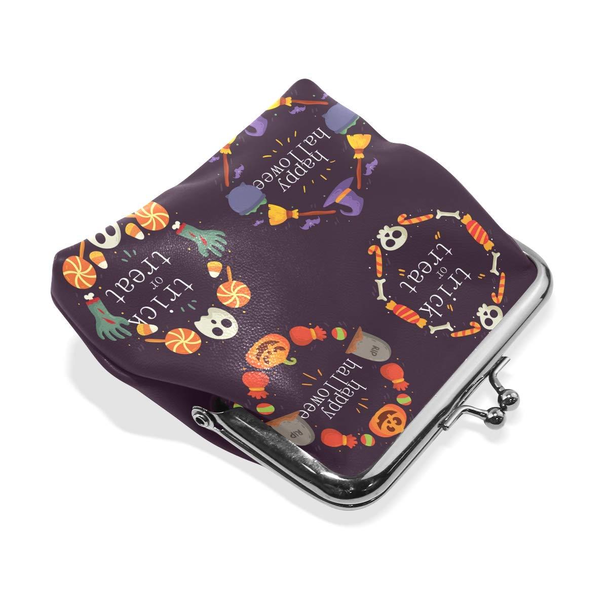 LALATOP Halloween Wreath Collection Womens Coin Pouch Purse wallet Card Holder Clutch Handbag