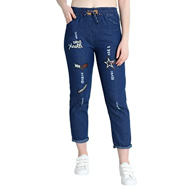 Diving Deep Trend Roll Up Blue Drawstring Printed Jeans for