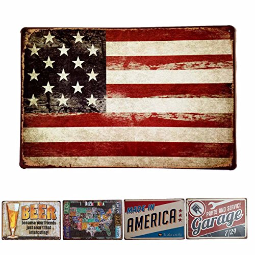 Flag Vintage Metal - HANTAJANSS America Flag Signs Retro Metal Signs for Wall Art Decoration 12 X 8 Inches