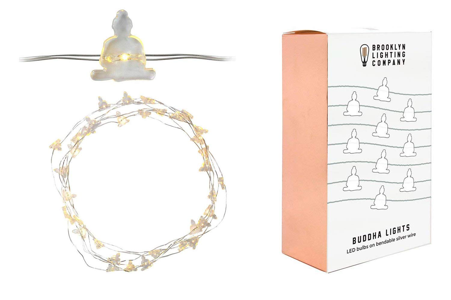Brooklyn Lighting Company LED Wire Lights, LED String Lights, Battery Operated String Lights with 36 Buddha Shaped Warm LEDs for Party, Bedroom, Kitchen, Patio, Deck and More, 12 Feet Long