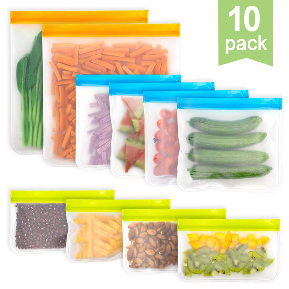 Sunvito Reusable Food Storage Bags,10 Pack Leak Proof Freezer Bags (2 Storage Bags+4 Reusable Sandwich Bags+4 Snack Bags) - BPA FREE Zip Lock Lunch Bag for Food Storage Home Organization