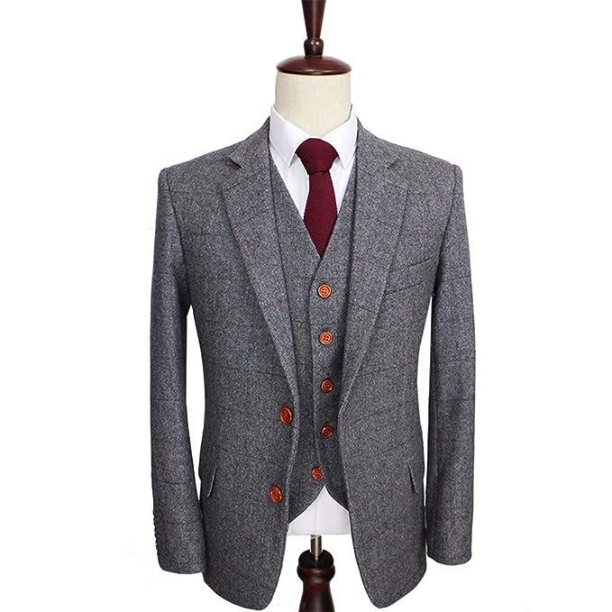 NewStyle Grey Tweed Herringbone Wool Blend Suit for Men 3 ...