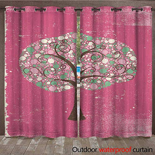 (RenteriaDecor Outdoor Curtain for Patio Retro Textured Peppermint Tree W108 x L84)