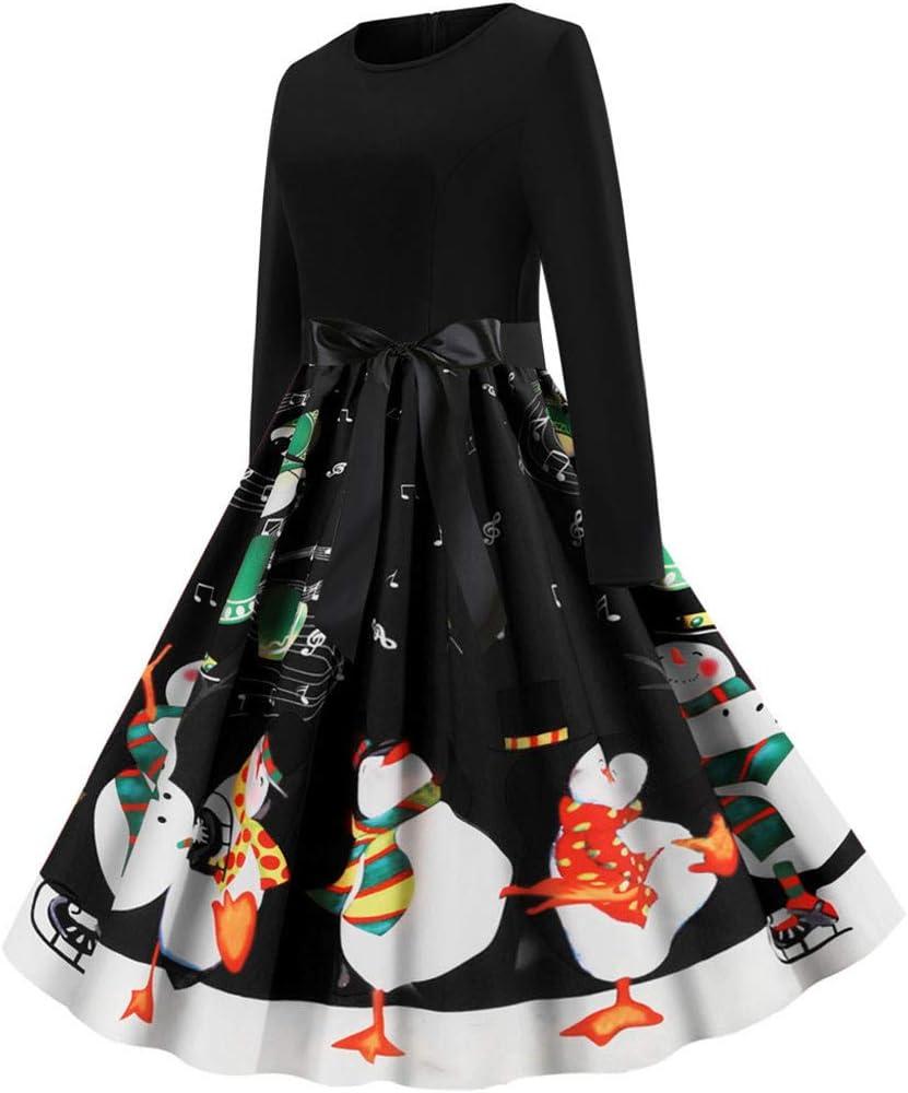 Vintage Christmas Dresses for Women,Elegant A-line Santa Claus Dress Prom Wedding Evening Party Flapper Bridesmaid Cocktail Skater Swing Jersey Knee Long Dress