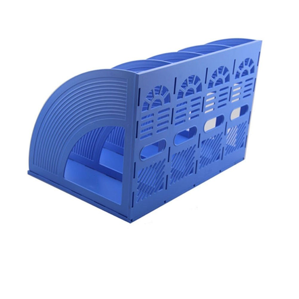 Whthteey 4 Compartment Desktop File Organizer Basket Plastic File Holders for Home Office School Blue by Whthteey (Image #5)