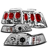 01 mustang halo headlights - Ford Mustang Pair of Chrome Housing Amber Corner Halo Projector LED DRL Headlight + Chrome Altezza Style Tail Light