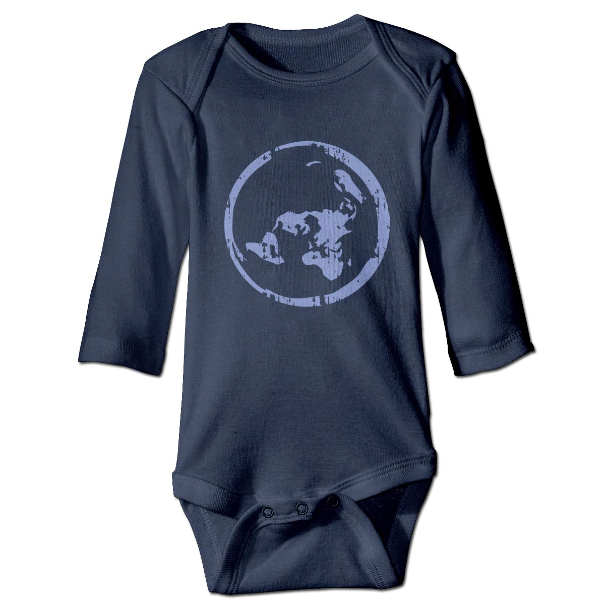 XHX Infant Planet Earth Flat Map Long Sleeve Romper Onesie Bodysuit Jumpsuit