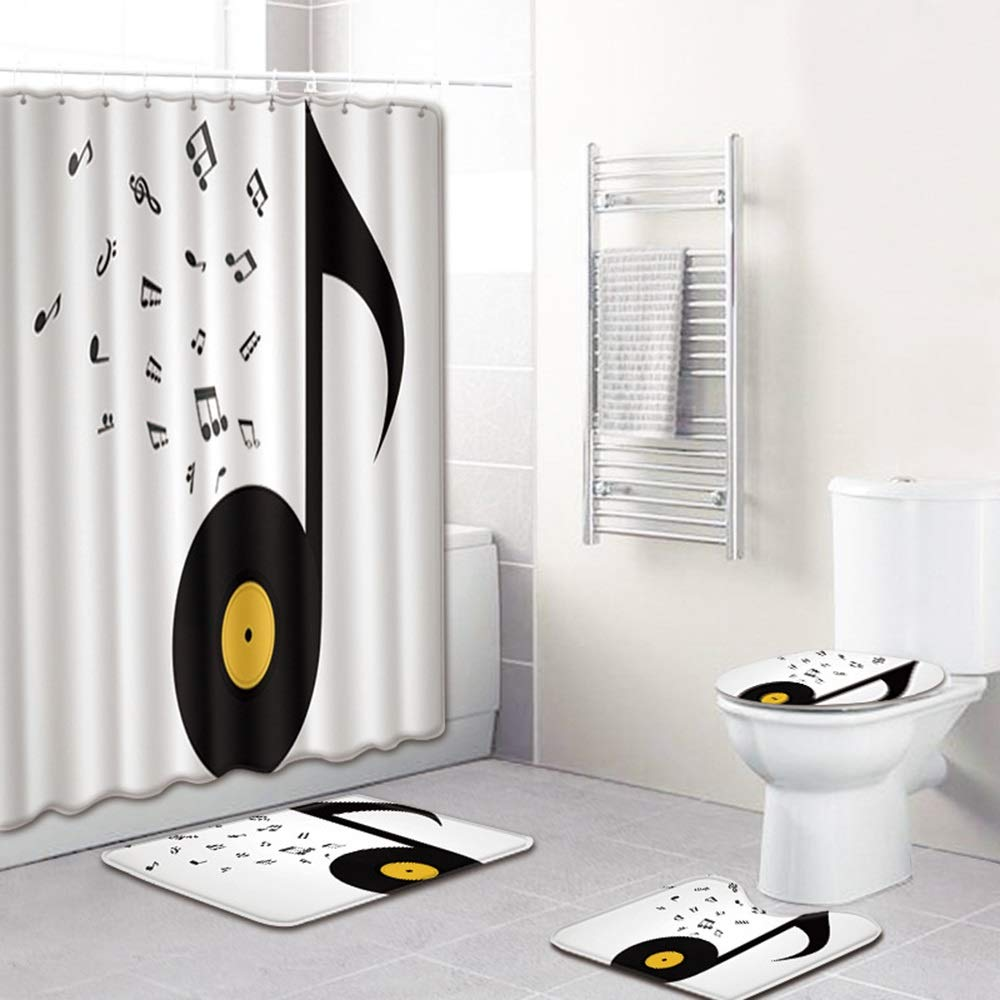 ETH Note Pattern Shower Curtain Floor Mat Bathroom Toilet Seat Four-Piece Carpet Water Absorption Does Not Fade Versatile Comfortable Bathroom Mat Can Be Machine Washed Durable by ETH