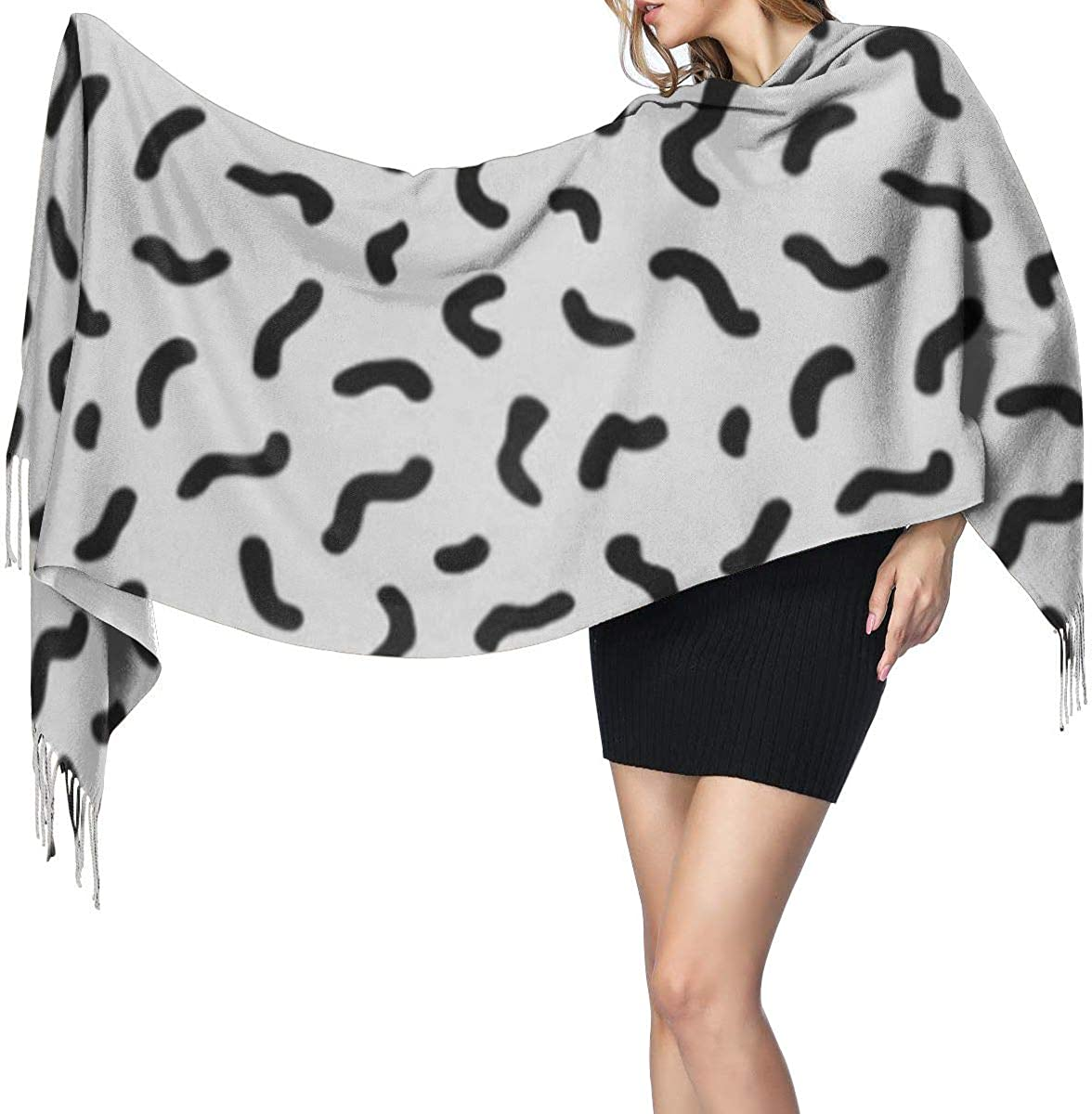 Colorful Graphic Abstract Geometric Pattern In Retro Memphis 80 90s And Eighties Fashion Lady Shawls,Comfortable Warm Winter Scarfs Soft Cashmere Scarf For Women