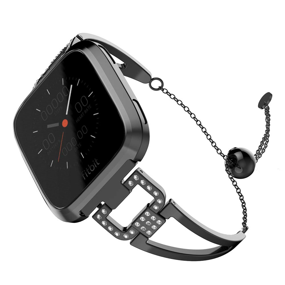 UMTELE Band Compatible for Fitbit Versa Lite Versa D Shape Stainless Steel Bracelet Women Replacement Band with Full Cover Screen Protector Case for Fitbit Versa Lite
