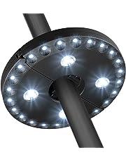Luz del paraguas del patio 28 luces llevadas Luz de jardín sin hilos Batería accionada al aire libre del balcón Parasol de poste de las luces poste montado 3 modo que oscurece el interruptor para el paraguas Barraca ligera de la tienda de campaña o tarjetas que juegan