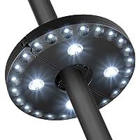 Luz del paraguas del patio 28 luces llevadas Luz de jardín sin hilos Batería accionada al aire libre del balcón Parasol de poste de las luces poste montado 3 modo que oscurece el interruptor para