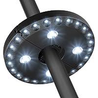 Lampe pour Parasol de Jardin, GB-Lun lampe de parasol avec 28 ampoules LED, lampe à fixer sur pied ou à suspendre, 3 intensités différentes d'illumination, fonctionne avec des piles