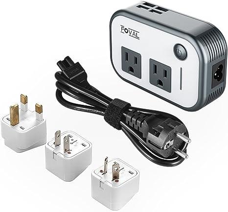 choisissez le dégagement 100% de qualité achat original Foval Power Step Down 220V to 110V Voltage Converter with 4-Port USB  International Travel Adapter for UK European Etc - [Use for US appliances  ...