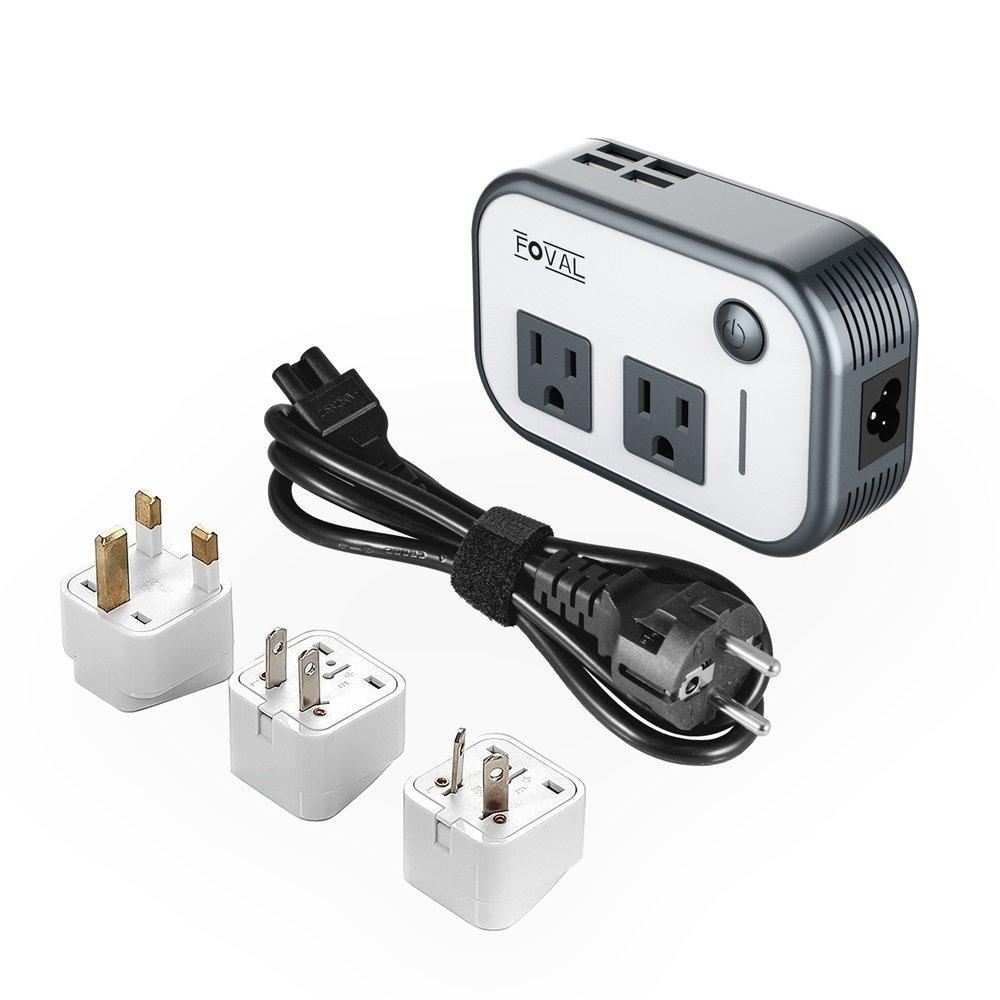 922d64ecd50e Foval Power Step Down 220V to 110V Voltage Converter with 4-Port USB  International Travel Adapter for UK European Etc -  Use for US appliances  Overseas