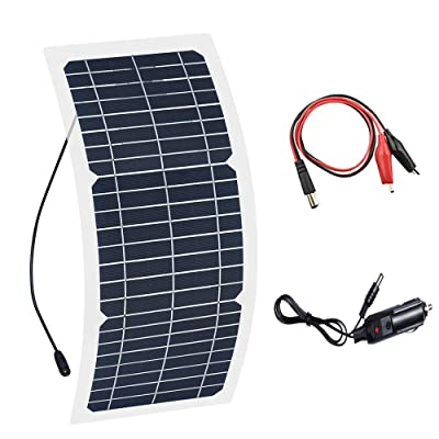 XINPUGUANG 10W 12V Flexible Solar Panel Monocrystalline Photovoltaic PV Module with DC Alligator Clip Cable for RV Boat Cabin Tent Car Trucks Trailers : Garden & Outdoor