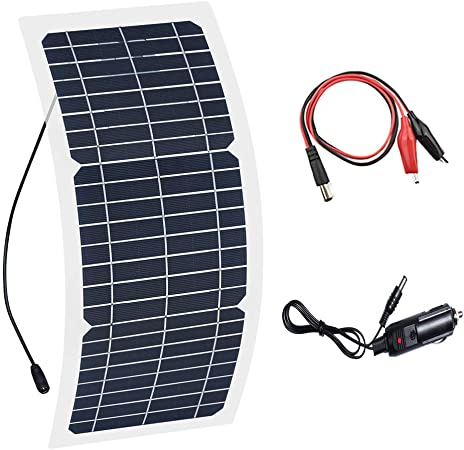 12V Solar Panel Charger Small Alligator Clip /& Lighter Cable for Car Boats