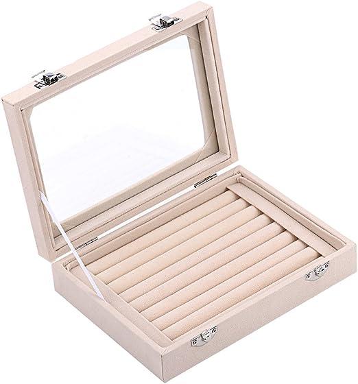 Zice - Caja de almacenamiento de terciopelo para joyas con 7 ...