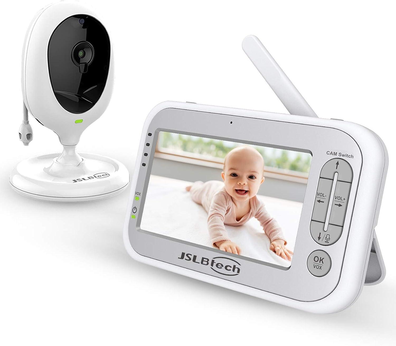 JSLBtech Baby Monitor Videocamera con Schermo LCD da 5 Funzione Interfono Visione Notturna Monitoraggio della Temperatura Risparmio Energetico//Vox Ninne nanne Supporta fino a 4 telecamere